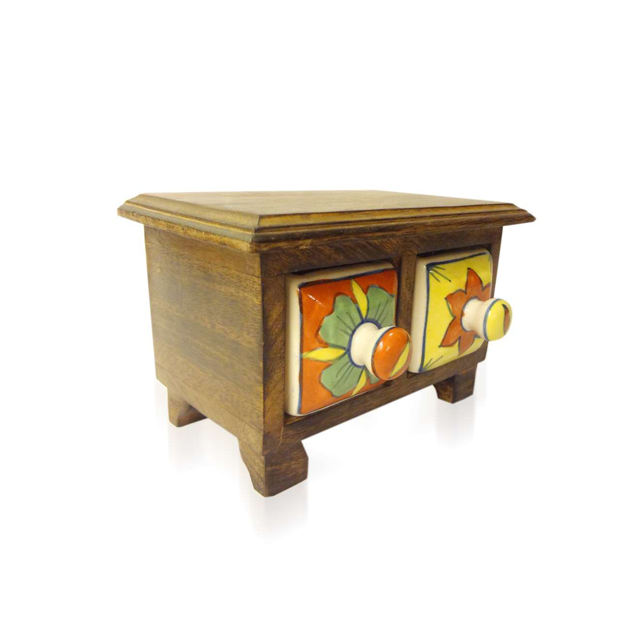 Handcraft Decorated Flower Painted High Quality Best Design Two Porcelain Drawer Wood Made Mini Cabinet