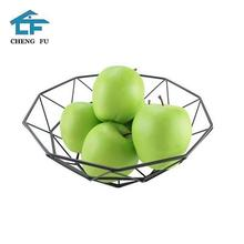 Hot sale kitchen storage display countertop vegetables chrome wrought iron wire mesh metal fruit basket