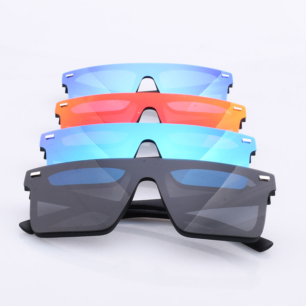 2020 Eco Friendly Quality Oversized Big Lenses Trendy Colourful Shades Sunglasses Square Large Rimless Sun Glasses Women