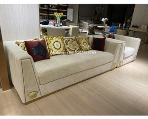 Modern design European italian style living room furniture sofa set material fabric velvet soft loveseat luxury lobby sofa