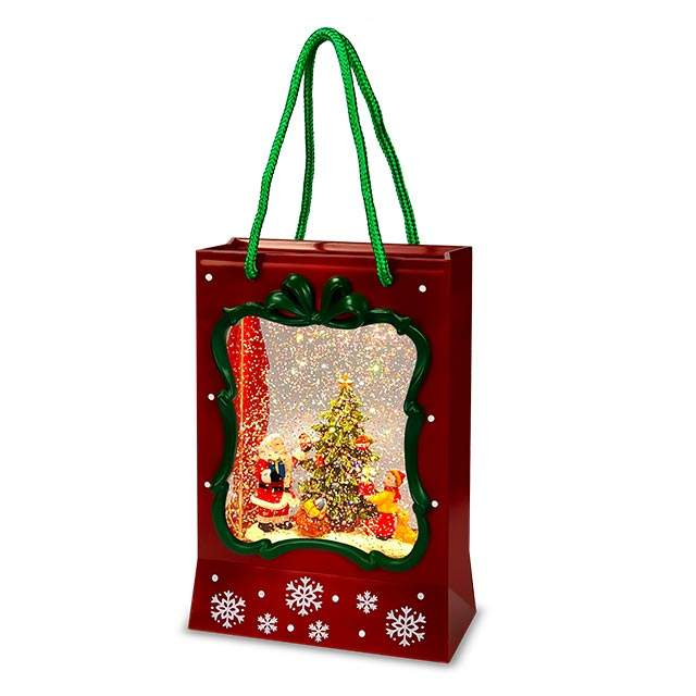 Santa Wholesale Led Gift Bag Lantern Decoration Gift Decor Santa Christmas Snow Globe Lantern
