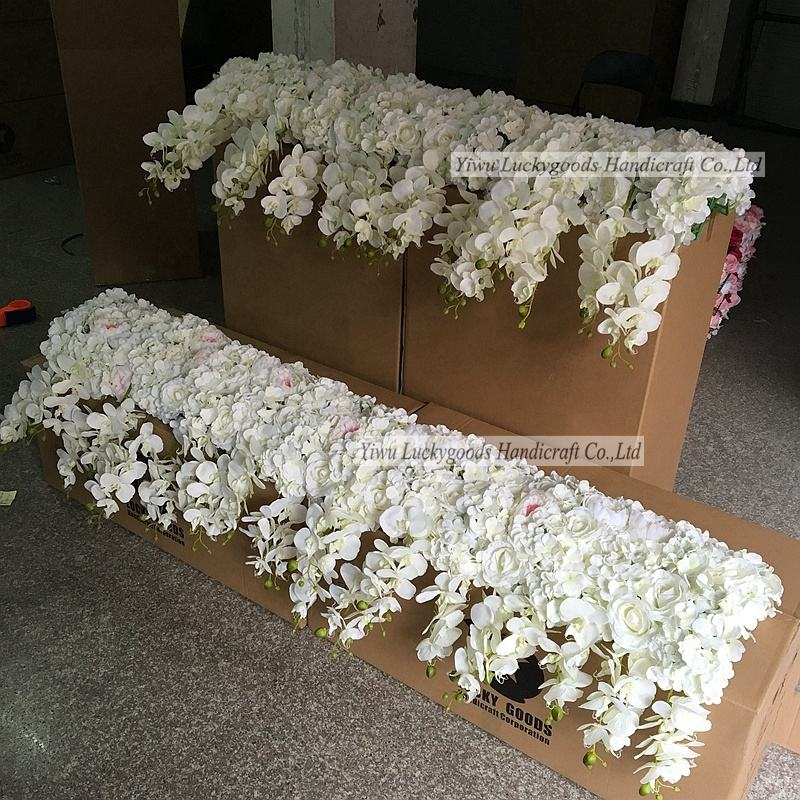 LFB228-16 Luckygoods handmade cream white hydrangea artificial flower panel for wedding event decoration