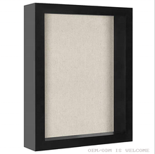 "11x14""Deep Wooden Shadow Box 3d Display Case with Glass Shadowbox Picture Frame with Linen Board Wall for DIY artwork show"