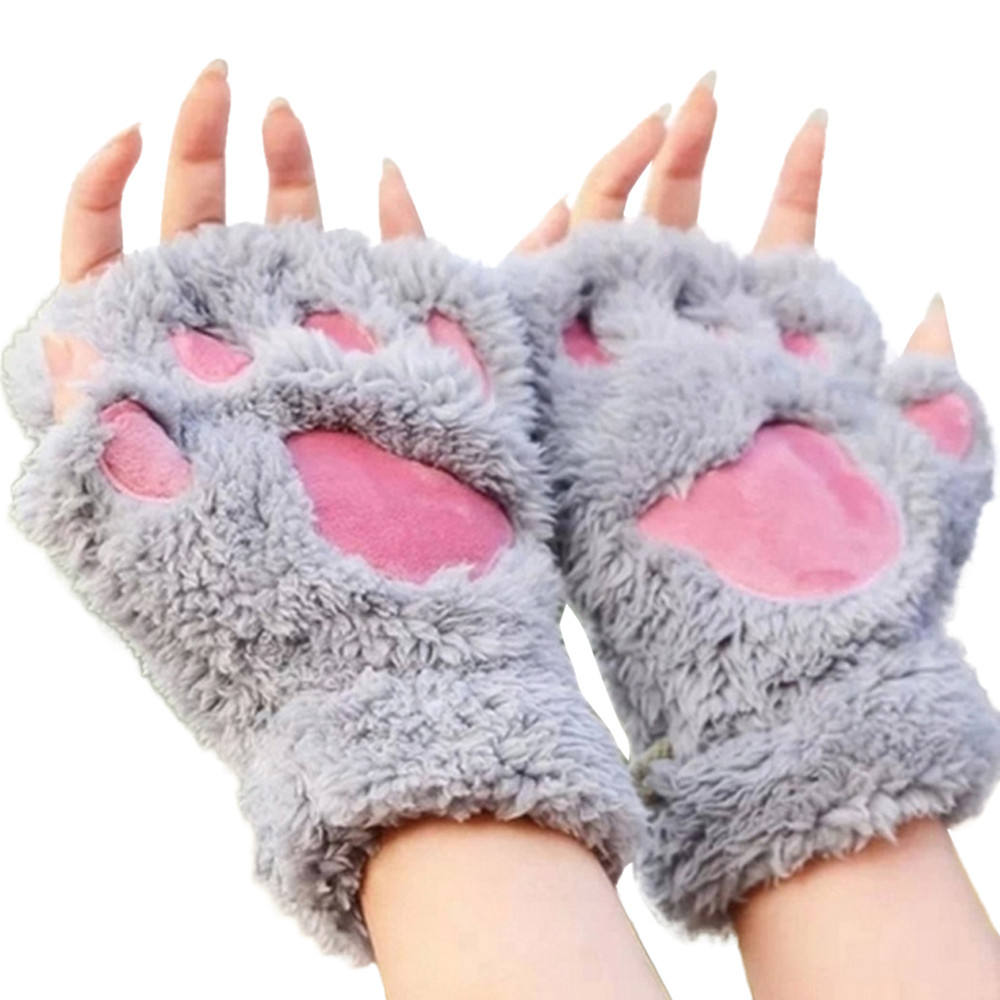 F34 Fashion Women Girl Lovely Winter Cute Mitten Soft Half Finger Gloves Warm Paw Cat Claw Plush Fingerless Gloves