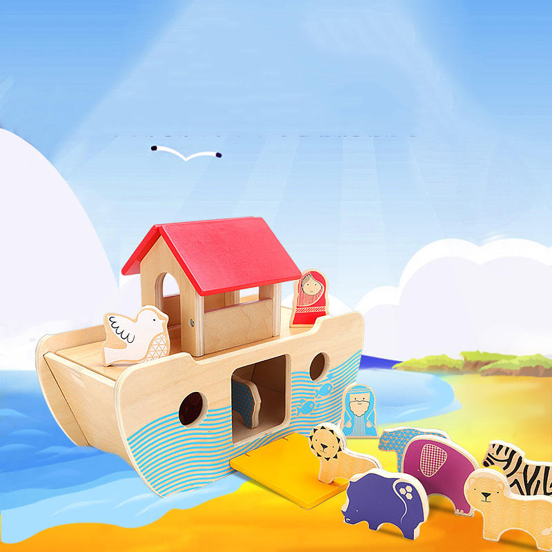 2020 DIY Wholesale Toddler Montessori Educational Wooden Noah'S Ark Toy For Children Baby other toys