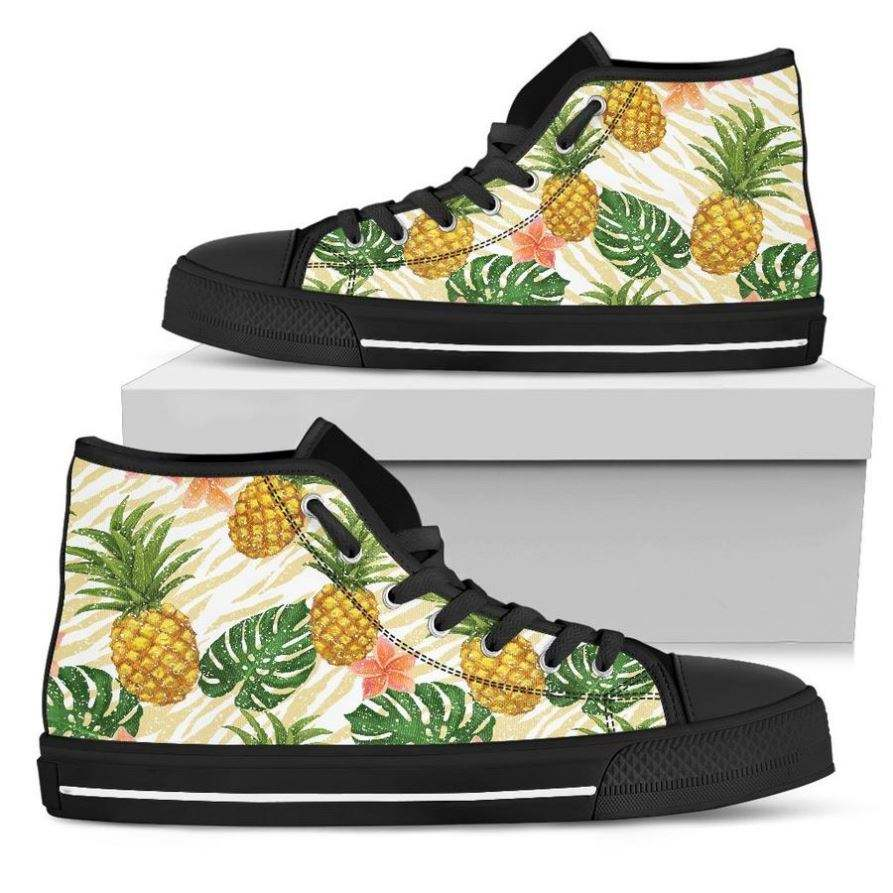 Comfortable Causal Shoes Boys Girls Beige Zebra Pineapple Pattern Print Mens High Top Shoes Mens Shoes Canvas