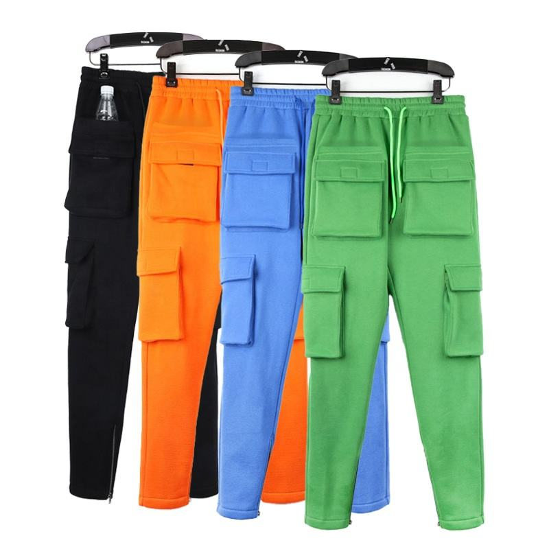 Custom Logo Sweat Trousers Solid Color 6 Pockets Tooling Trousers Men's Long Pants