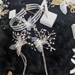 Sayabridal 's new three-piece headdress set in 2020 2 headdress flowers  Neck chain one A pair of earring Cute Valentine Gift