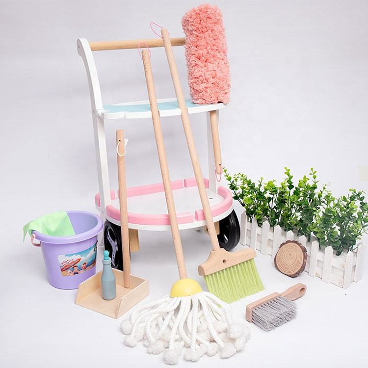 2019 Wooden child Sweeping and cleaning kit play set toy for the Preschool role play wooden toy cleaning set