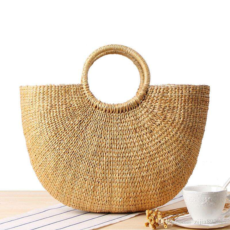 casual paper basket Half - crescent handbag summer straw bag Handmade Paper Shopping Straw Basket Bag straw women bag