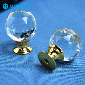 Crystal Glass Ball Alloy Door Drawer Cabinet Wardrobe Pull Handle Drop Furniture Knobs