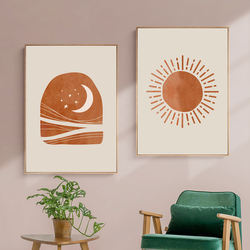 Abstract Landscape Sun and Moon Scene Canvas Prints Painting