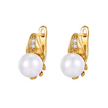 E-20 Xuping women pearl gold jewelry imitation pearl clip on earrings