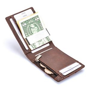 Customized men slim leather rfid credit card holder money clip wallet