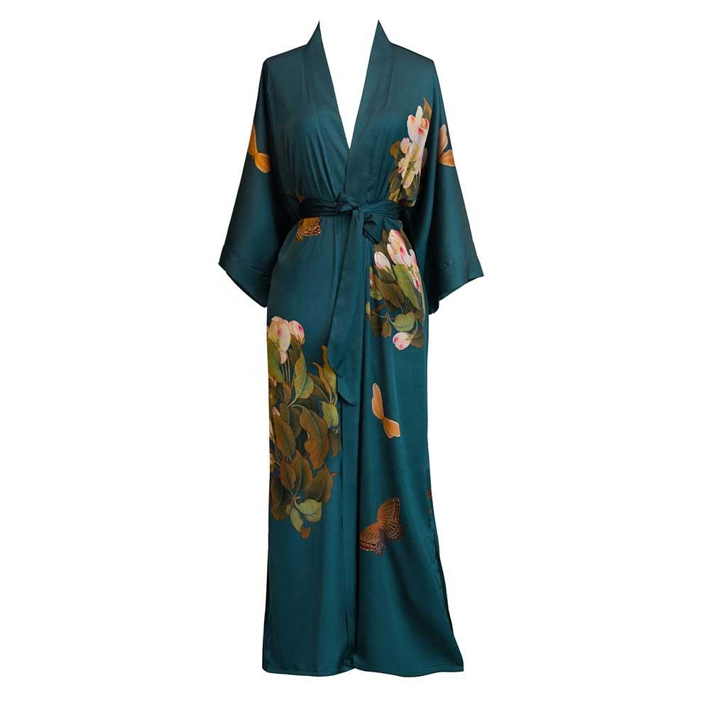 2021 New Fashion Wholesale Night Club Emberlished Boho Kimono Robes with Fringed Hem Women Silk Kimono Robe Pajamas Customize