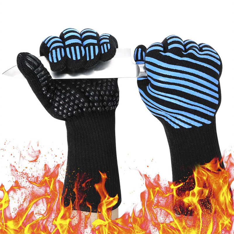 Cave Tools BBQ Glove Oven Mitts Heat Resistant Grill&Cooking Pot Holders Set with Silicone & Aramid Grilling Accessories