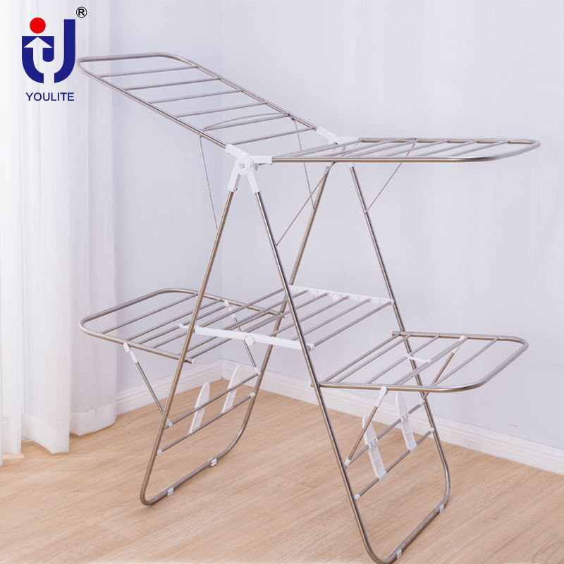 Multifunctional foldable wing clothes drying rack for garment