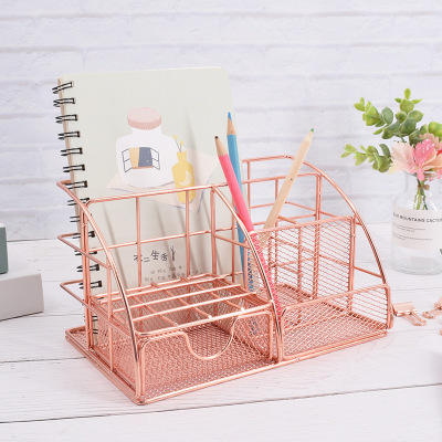 Rose Gold Desk Pencil Holder and Paper Organizer