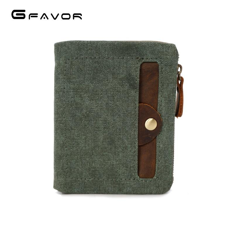 Unisex brand waterproof waxed card holder vintage retro multiple canvas coin purse wallet for teenager