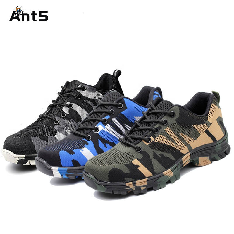 ANT5 Fashion Lightweight Outdoor Men Steel Toe Cap Military Safety Work Boots Camouflage Anti Puncture Indestructible Shoes