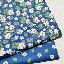 Twill Cotton fresh blue leaf floral Sewing Fabric Red White Making Bedding Hand-Made Home Dec Cloth