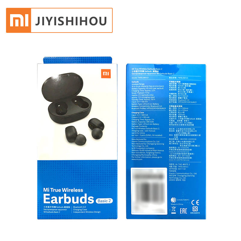 Global Version Xiaomi Mi True Wireless Earbuds Basic 2 Earphone 2 BT5.0 Noise Cancelling AI Control Mic Handsfree Xiaomi Earbuds