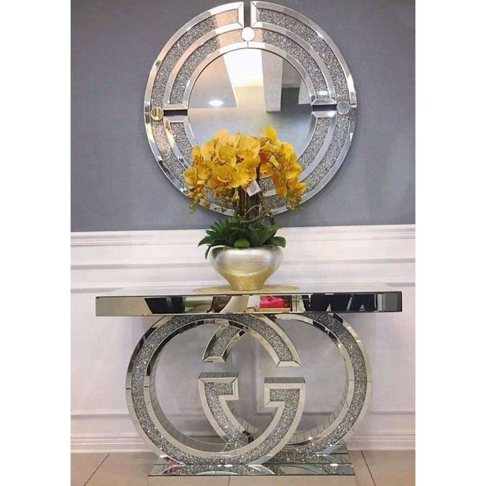 Bestselling round crushed diamonds mirrored console set