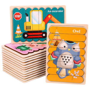 Baby Wooden Double-sided Puzzles Creativity Strip Shape 3D Puzzle Telling Stories Stacking Jigsaw Kids Educational Learning Toys