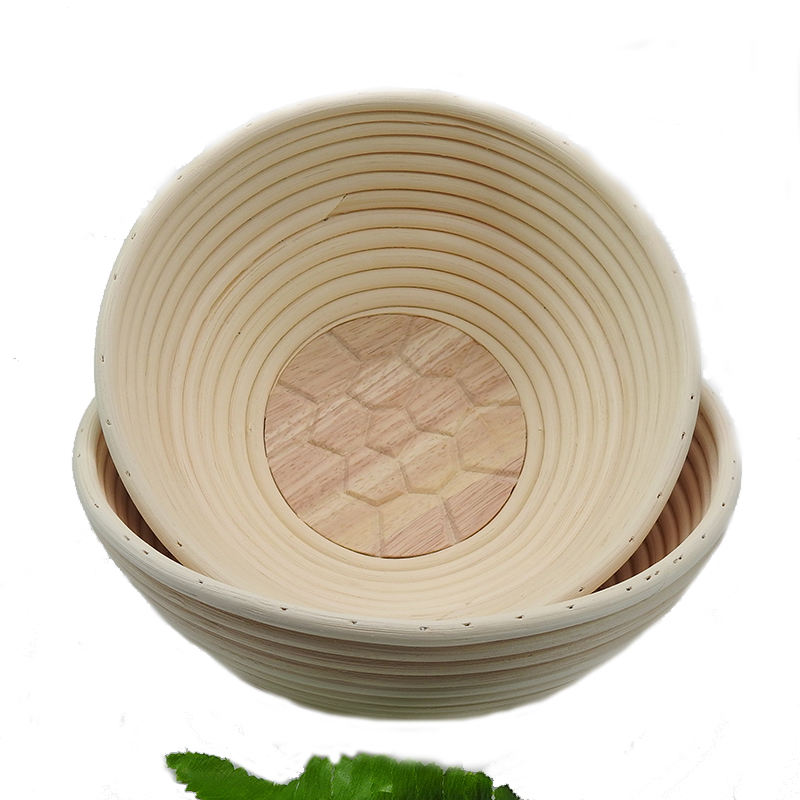 Amazon Hot Sell 2 Pcs Handmade Round 8.5 '' Natural Rattan Proofing Basket Baneton Set With Linen