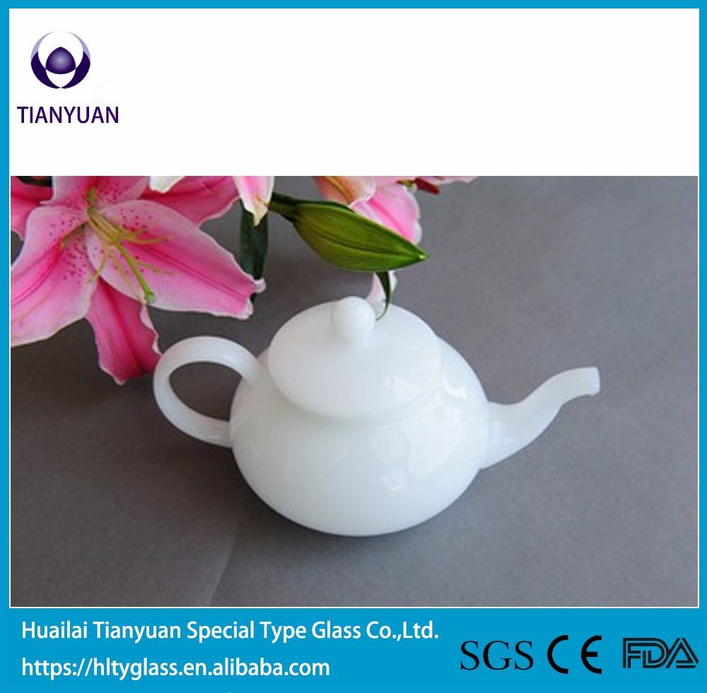 Borosilicate White Porcelain Glass Teapot Set Translucent With Warmer 1000ML