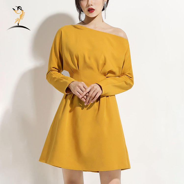 Beautiful casual solid Oblique Shoulder Long Sleeve Slim A-Line Dress