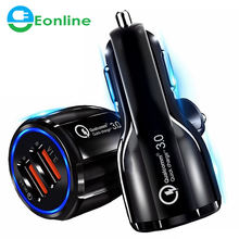 CE/Rosh/FCC Car USB Charger Quick Charge QC3.0 QC2.0 Mobile Phone Charger 2 Port USB Fast Car Charger for iPhone Samsung Tablet