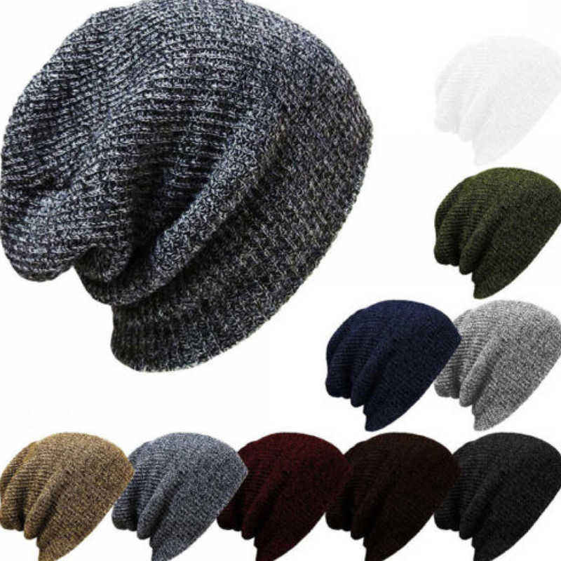 Q569 Men Casual Solid Knit Beanie Women Baggy Beanie Hat Crochet Slouchy Oversize Ski Cap Warm Winter Hats