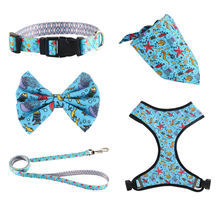 Top Seller Custom Design 2 in 1 Reversible Dog Harness Neoprene , Custom adjustable collar bow leash harness and bandana sets