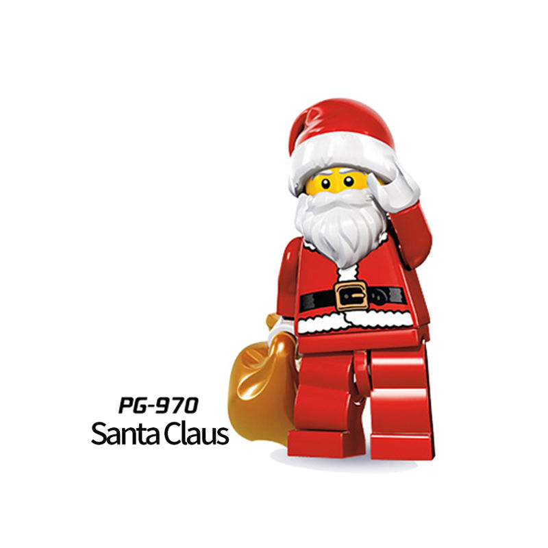 hot sell Halloween Christmas Santa Clausc Plastic mini action figure DIY compatible block toys for kids