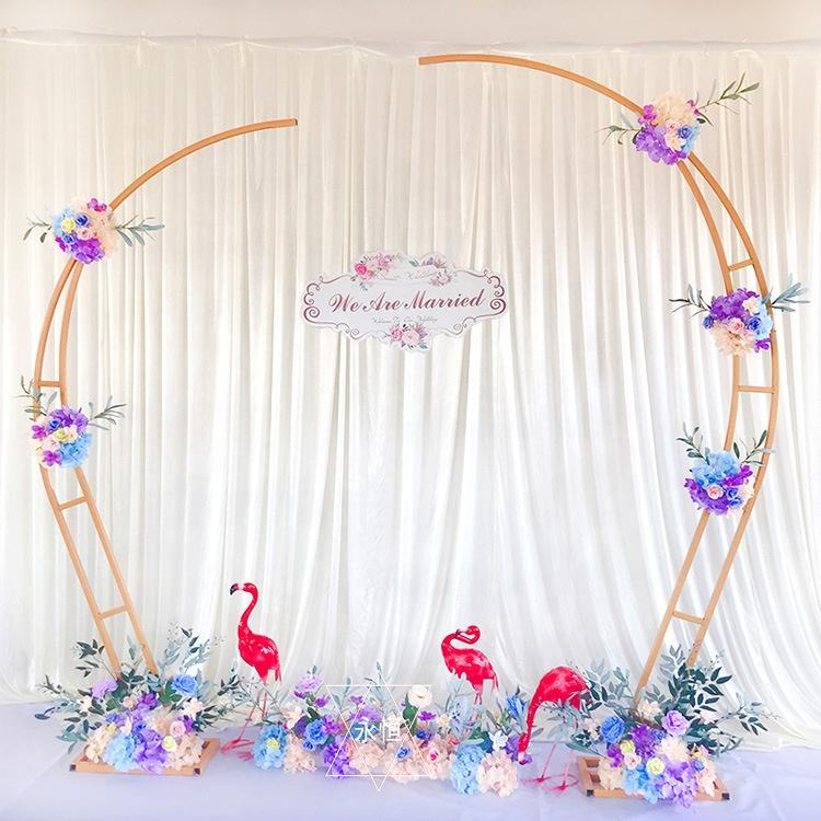 W06217 Gold White Half Round Circle Backdrop Decor Metal Flower Love Heart Shape Wedding Arch