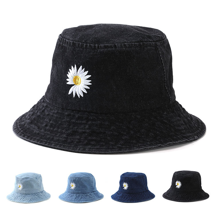 Denim Bucket Hat Embroidered Little Daisy Summer Outdoor Sun Japanese Fashion Bucket Hat Denim Basin Hat