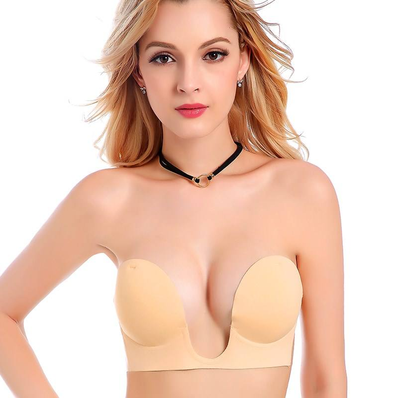 Hot Sale Women Silicone Sponge Backless Invisible U Plunge Strapless Silicone Seamless Bra