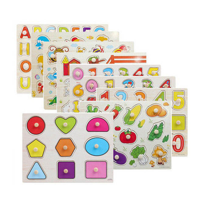 custom Learning Early baby hand grasp educational toy,peg puzzle,alphabet wooden jigsaw puzzle