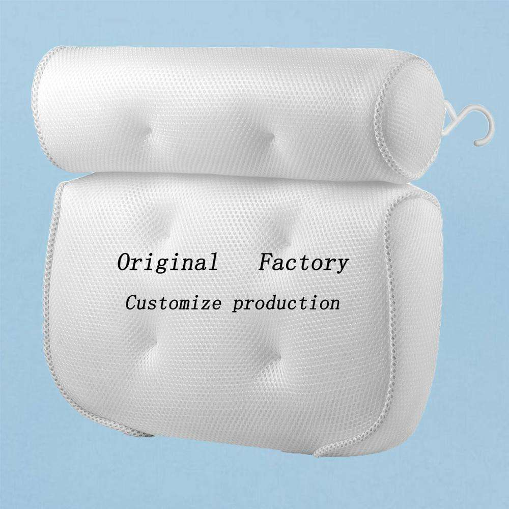 Customized production wholesale 3D air mesh spa bath pillow bathtub pillow with suction cups