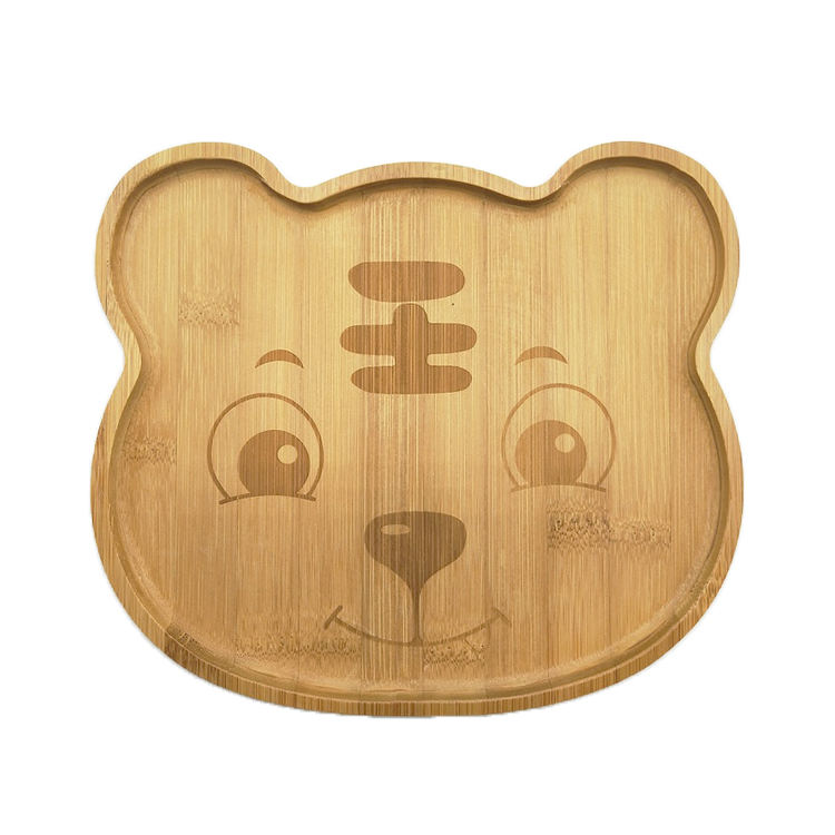 Healthy Kids Baby Eco Friendly Dinner Plate Bamboo Wooden Dish Cute Tiger Bamboo Animal Plate