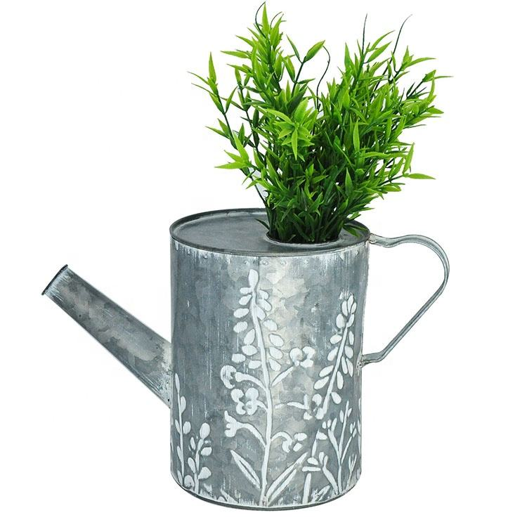 IVY Rustic Metal Floral Pot Tin Water Kettle Flower Shower Container Watering Can Home Garden Decor Flowers Bucket
