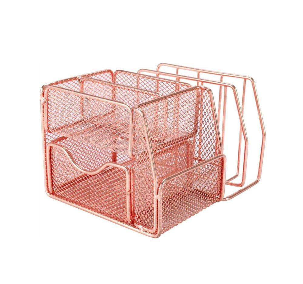 Metal Home Office Desk Organizer Caddy and Storage with Pen Holder, Rose Gold