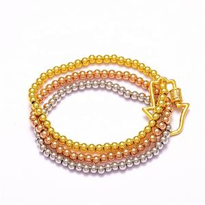 Cheap Wholesale Hamsa Hand Shape Screw Clasp Bracelets,CZ Charms Clasp Lock Buckle Round Gold Beads Bracelets