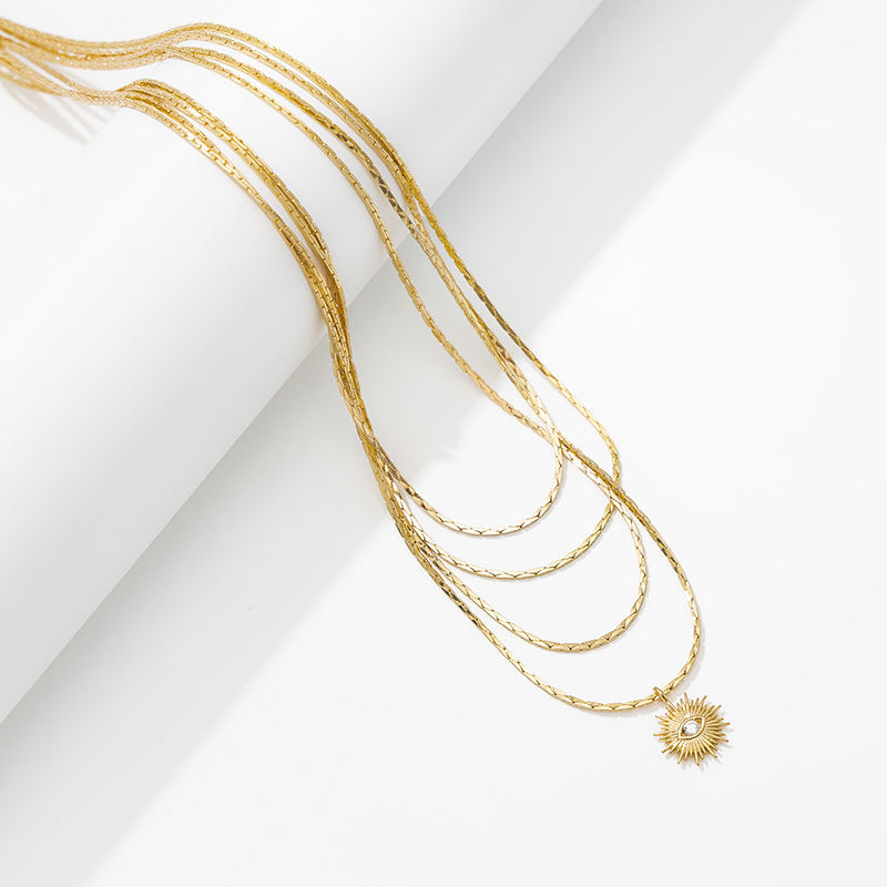 Dainty Coin Pendant 18K Gold Layered Necklace with evil-eye Long Chain Multilayer Necklace Set Jewelry for Women Girls gift
