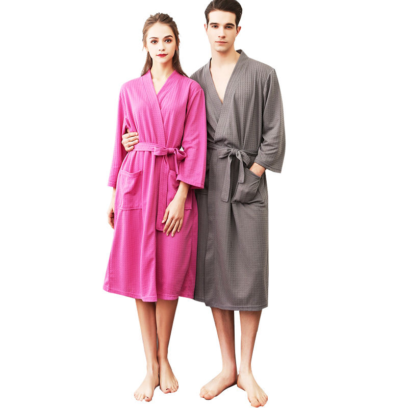 Free shipping unisex sprinting and summer bathrobe , 3/4 sleeves Thin waffle water absorption bathrobe and quick dry night gown