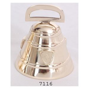 Decorative Polished Brass Cow Bell Swiss Cross