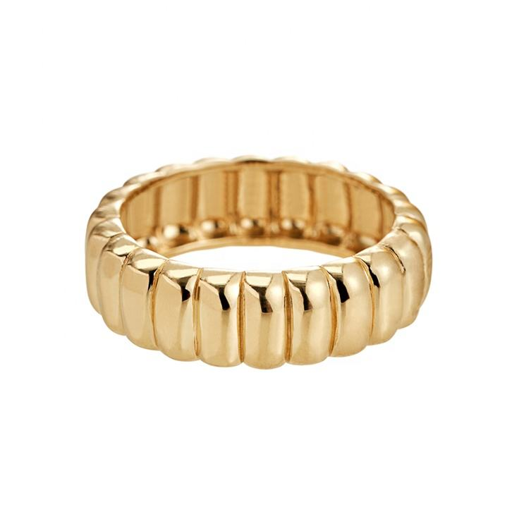 Gemnel design unique 18k gold plated filled band chunky croissant ring 925 sterling silver men rings jewelry for men woman