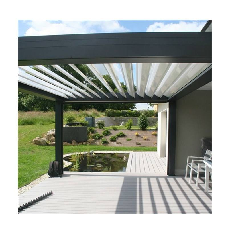 Execellent Modern Design Louver Roof Aluminum Electric Pergola Retractable Awning With Glass For Outdoor Kitchen