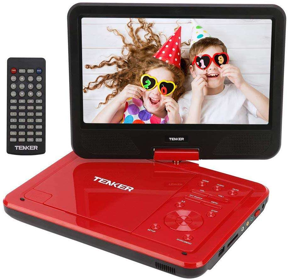 "TENKER 12.5"" Portable DVD Player with Swivel Screen, 3 Hours Rechargeable Battery with SD Card Slot and USB Port"